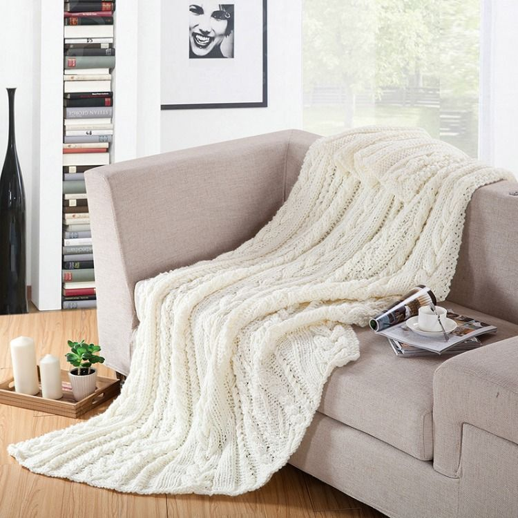 Cotton Knit Throw Blanket With Ruffled Frills Sofa Throw Blanket