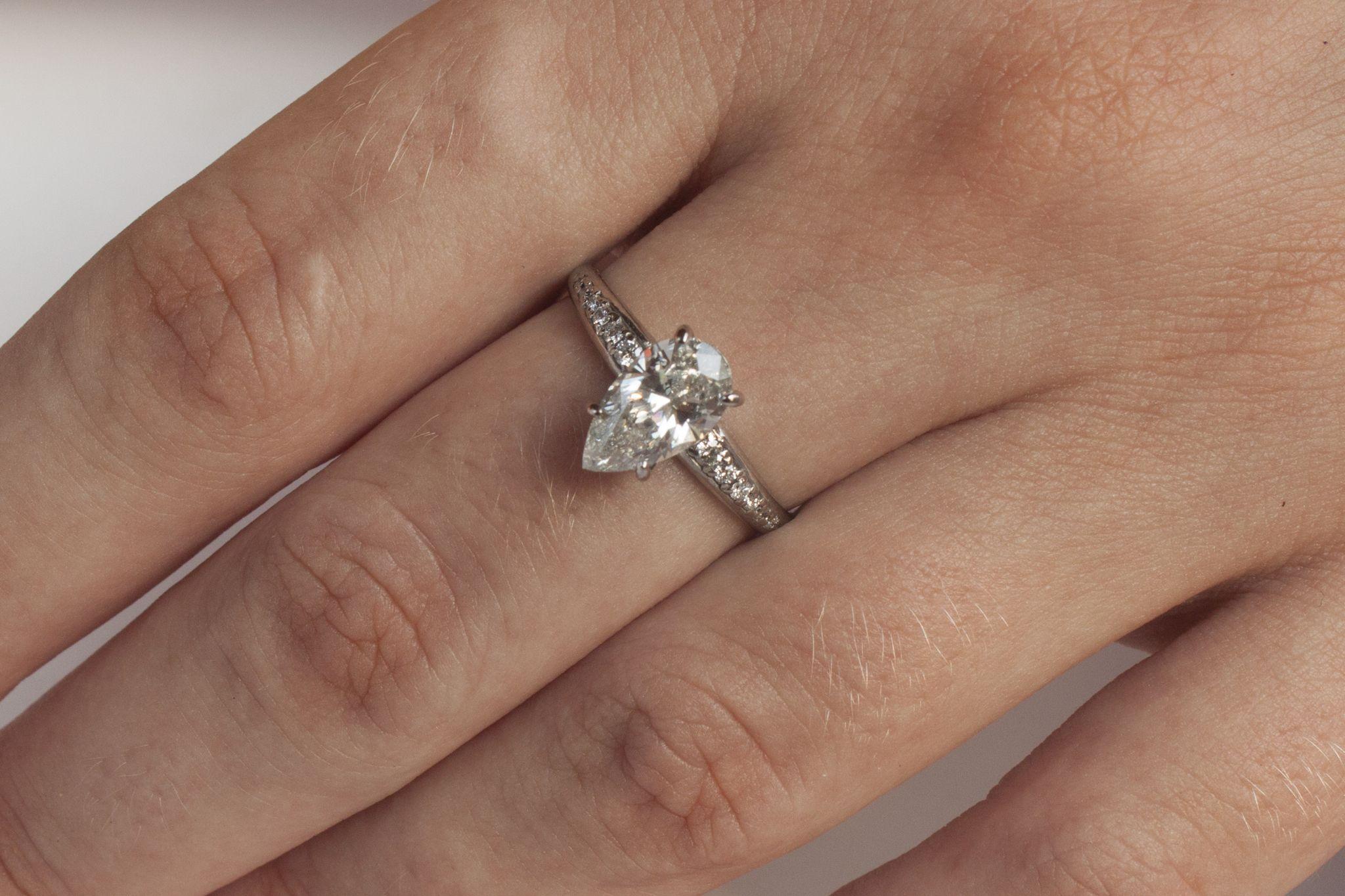 ct pear diamond engagement ring by moonjuicestudio diamond