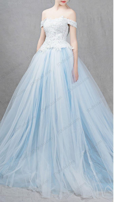 IS041 Ocean light blue colored princess ball gown wedding dress | A ...