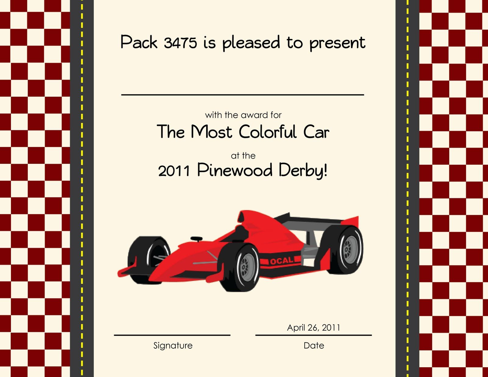 pinewood derby award ideas - Pinewood Derby Certificate Templates