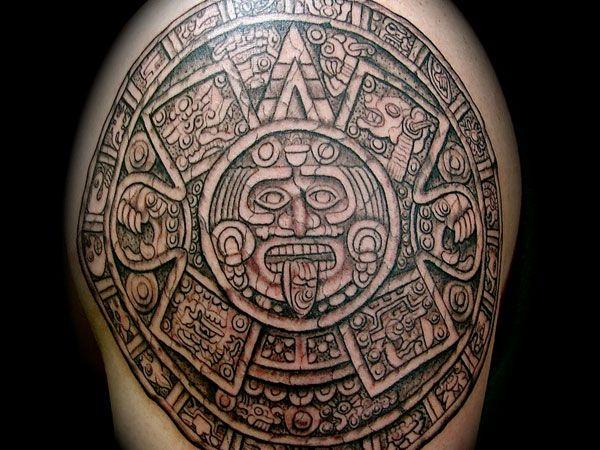 Mayan Shoulder Calender Tattoo 30 Perfect Mayan Tattoos