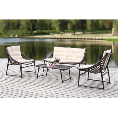 Safavieh 4 Piece Breanna Patio Group Set with Cushion Finish: Brown, Fabric: Red