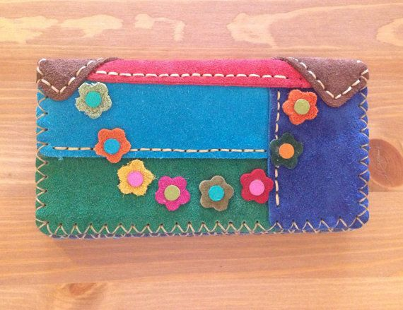 Colorful Suede Women Wallet with Colorful by GemHandmadeGoods