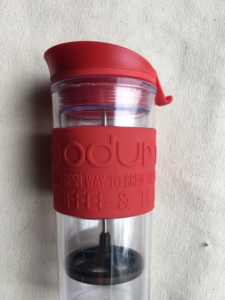 Bodum Travel Coffee and Tea Maker Red and Clear French