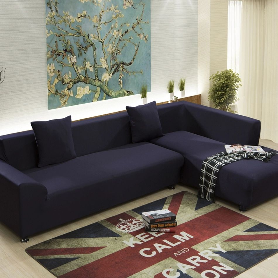 Sofa Sleeper Dark blue universal sofa cover for living room solid color stretch furniture covers multi
