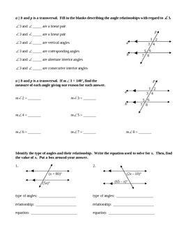 Angles And Parallel Lines Worksheet Answers : angles, parallel, lines, worksheet, answers, Angles