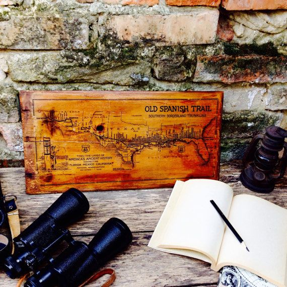 Old #Spanish #Trail #Vintage #Map #Home #Decor #Wooden #Picture #USA ...