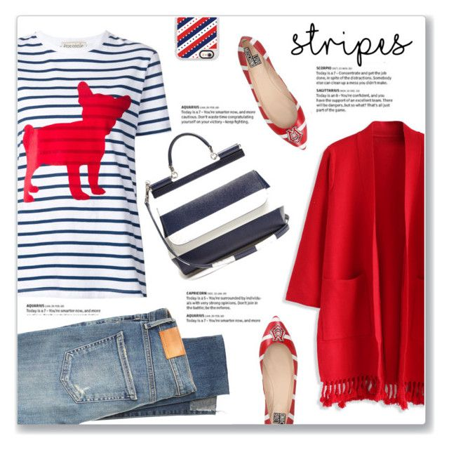 """""""Red, White, & Blue Striped Outfit"""" by kellylynne68 ❤ liked on Polyvore featuring Chicwish, Être Cécile, Dolce&Gabbana, Love Moschino, Citizens of Humanity, Casetify, stripes, redwhiteandblue, dog and BoldStripes"""