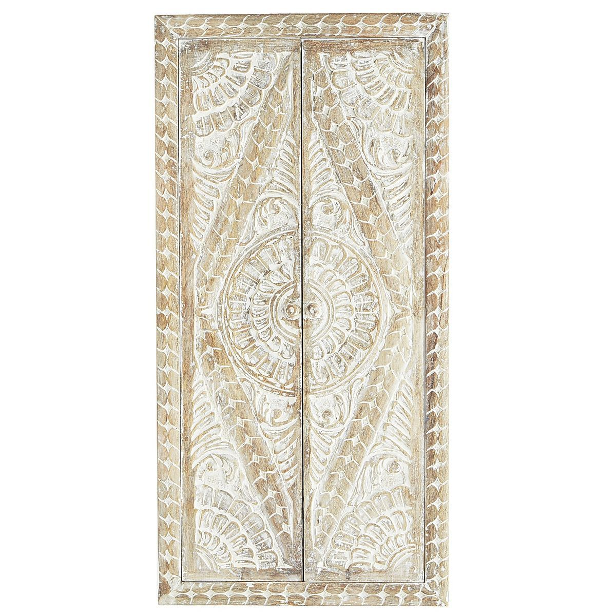 Whitewashed carved wood doors wall decor pier imports ceiling