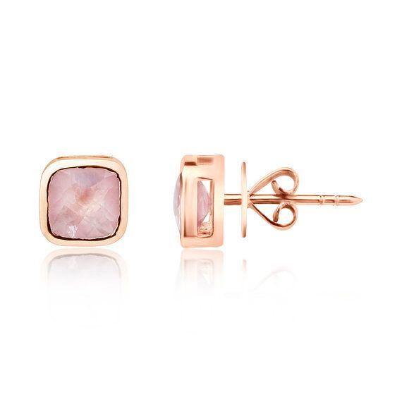 9ct Rose Gold Pink Quartz Cushion Cut Stud Earrings Uk