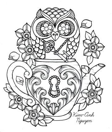 Steampunk teacup owl coloring page printable adult Kleuren voor ...