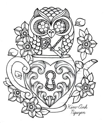 Steampunk teacup owl coloring page printable adult Kleuren