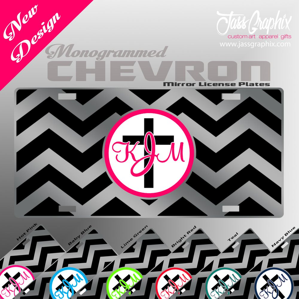Monogrammed License Plate with chevron pattern and Cross, This design and more monogrammed car tags are availalbe on our site http://www.jassgraphix.com/product-category/license-plates-2/monogrammed-license-plates