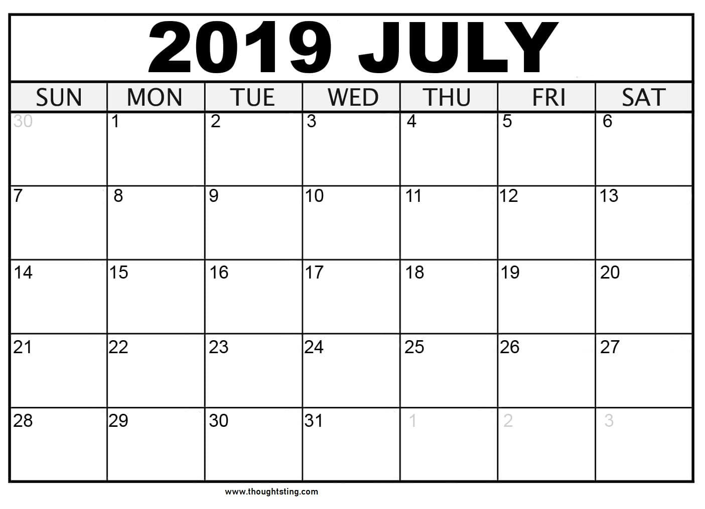 Printable July Calendar Downloadable