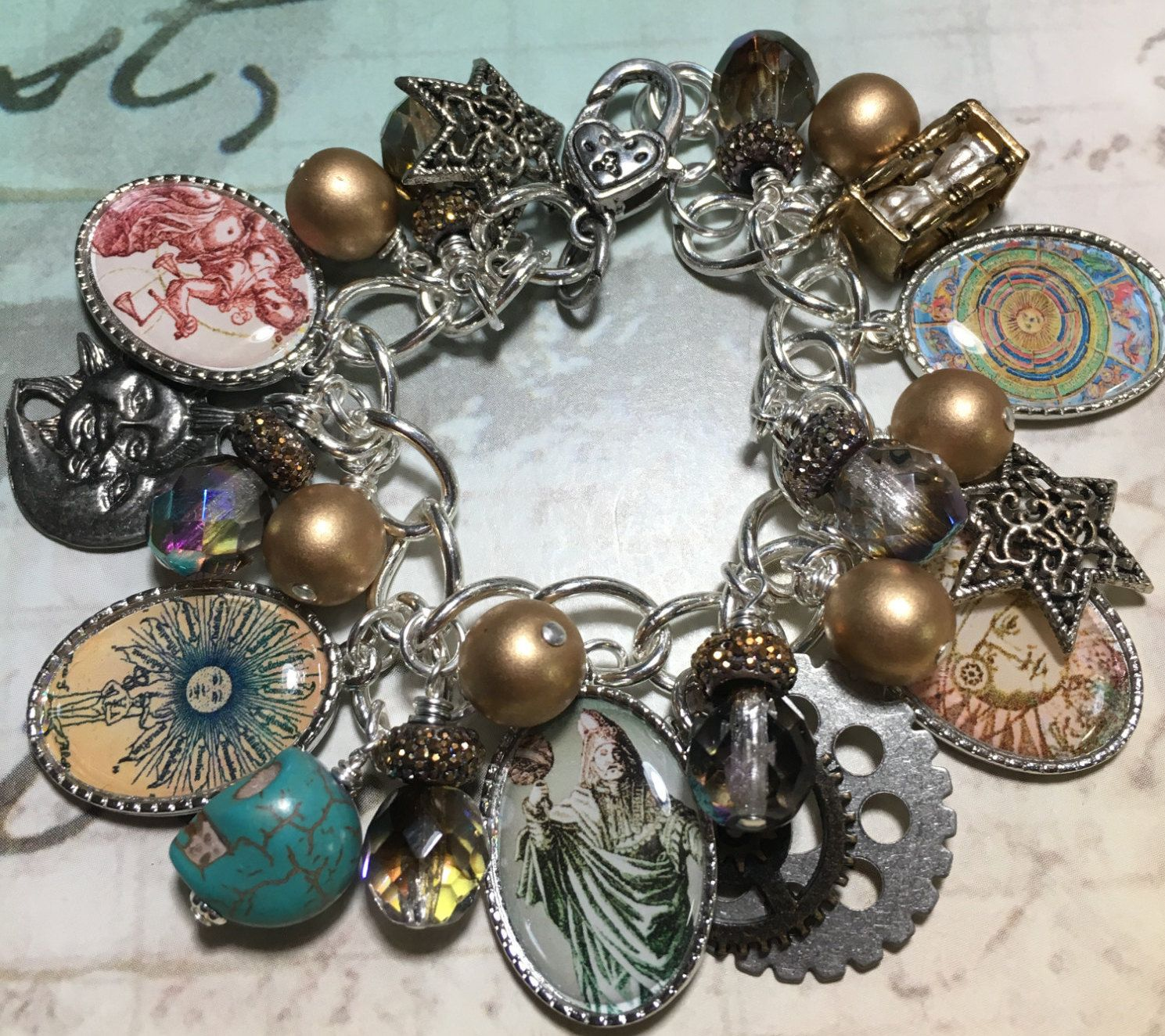 Alchemy,  altered art Charm bracelet, altered , jewelry, handmade, One of a kind by Bostoncharm on Etsy
