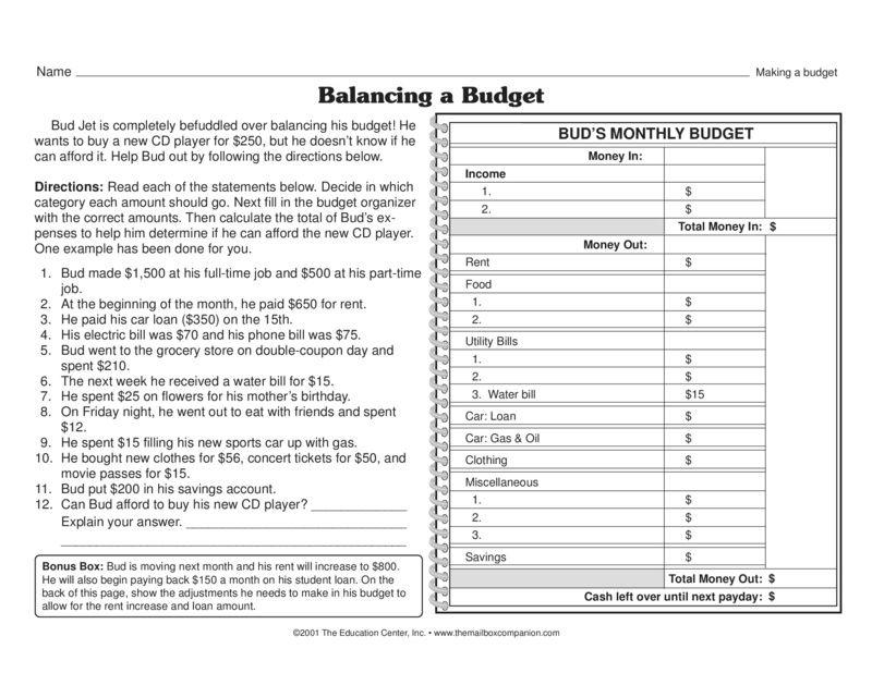 Balancing a Budget - The Mailbox | Math | Pinterest | Math ...
