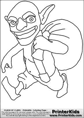 Clash Of Clans - Goblin - Coloring Page  Clash of Clans ...