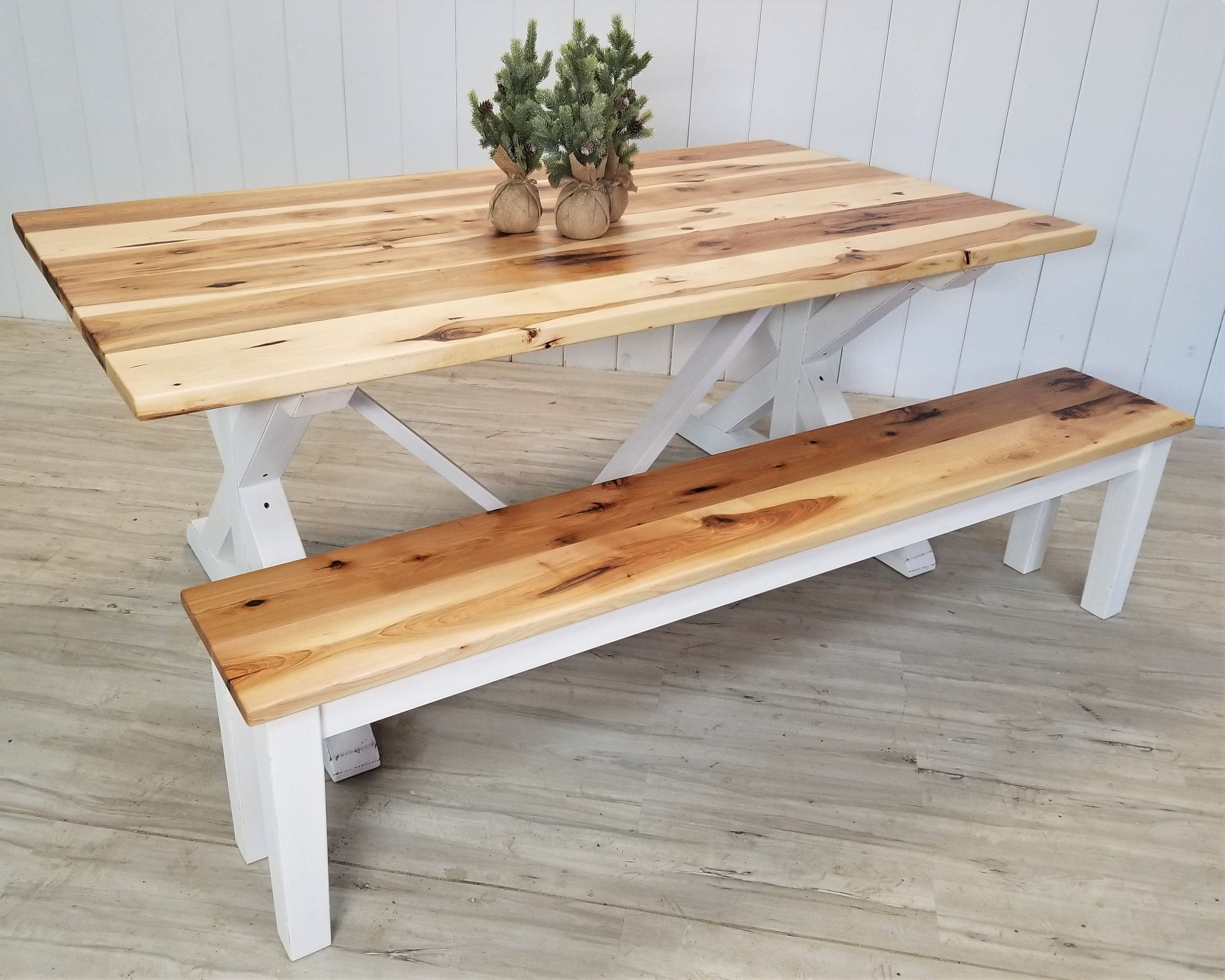 Customize This Rustic Hickory Farmhouse Table Bench Set Rustic Hickory Farmhouse Table In 2020 Farmhouse Table With Bench Trestle Dining Tables