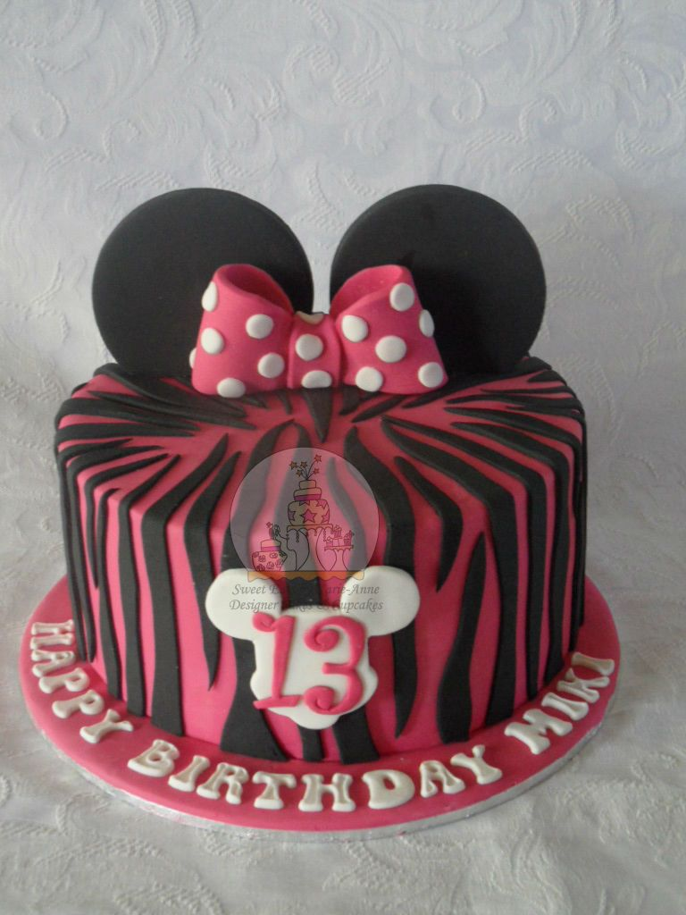 Minnie Mouse theme 13th Birthday Cake Childrens Cakes Pinterest