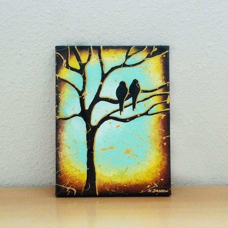 Gentil Bird Painting Tree Of Life Turquoise Aqua Blue Love Art Wall Decor    Painting Diy,
