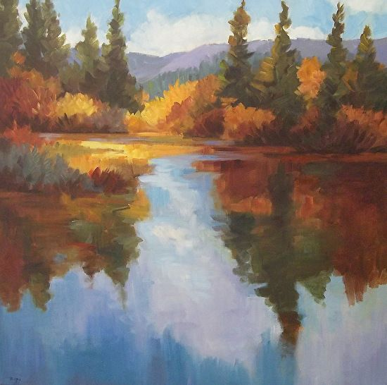 Contemporary Landscape Artists International Contemporary Autumn Landscape Painting Of Water Reflecti Painting Contemporary Landscape Artists Landscape Artist