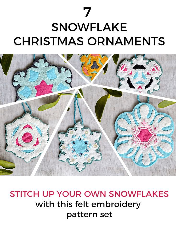 Christmas Ornament Patterns Felt Tree Snowflake Ornament Christmas