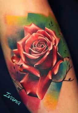 Off The Map Tattoo Tattoos Color Color Rose Tattoo Colorful Rose Tattoos Rose Tattoos Realistic Rose Tattoo