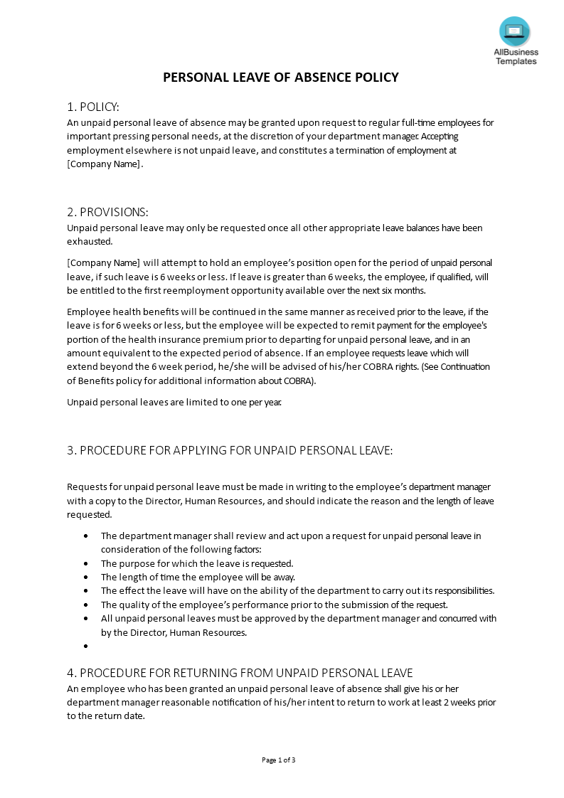 how to draft a leave of absence policy? download this best resume format for project manager professional summary cv sample abilities write in