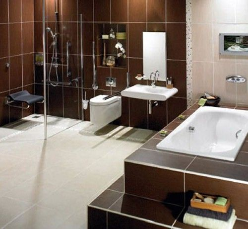Luxury Handicapped Bathroom Design With Safety Accessories