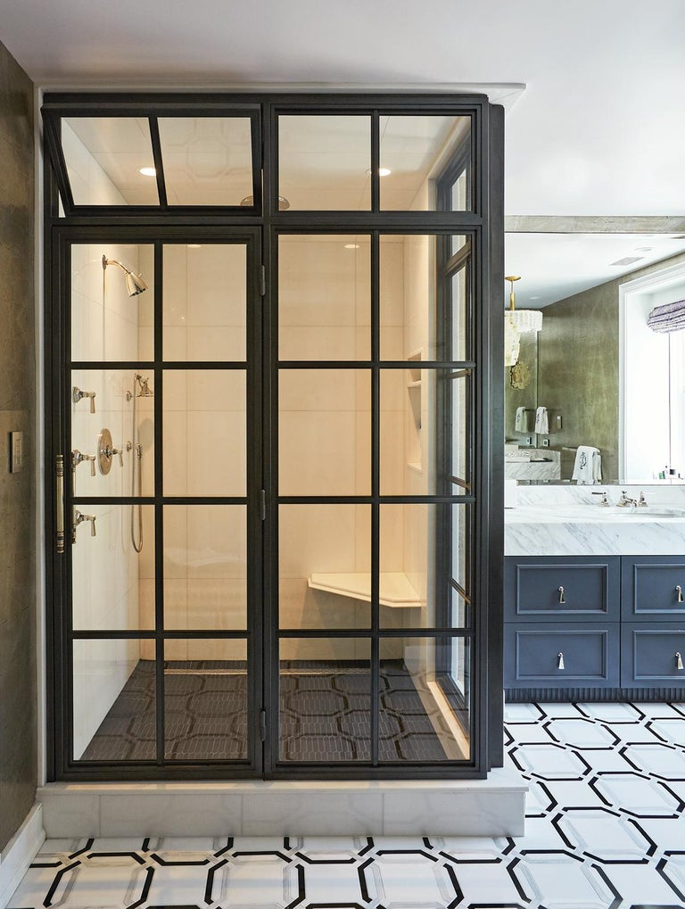 Amuneal S Frankford Steel And Glass Shower In 2020 Shower Enclosure Glass Pantry Door Steel Doors And Windows