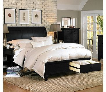 Aspen home cambridge sleigh storage bed in black home pinterest bedroom bed and sleigh beds for Aspen home furniture cambridge bedroom set