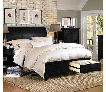 Aspen Home Cambridge Sleigh Storage Bed In Black Bedroom Sets