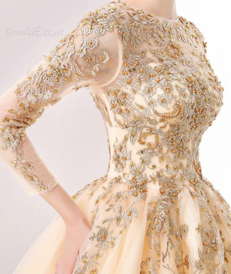 54e4df00176 Dresswe.com SUPPLIES Stunning Long Sleeve Applique Beaded Ball Gown Vintage  Ball Gown Dresses (