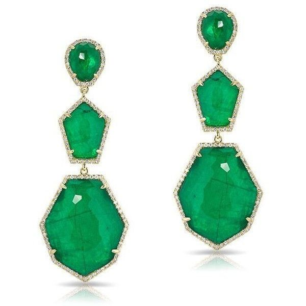 Anne Sisteron  14KT Yellow Gold Diamond Emerald Triple Drop Earring (6 475 BGN) found on Polyvore featuring women's fashion, jewelry, earrings, gold, diamond earrings, gold earrings, emerald diamond earrings, diamond jewellery and yellow gold drop earrings
