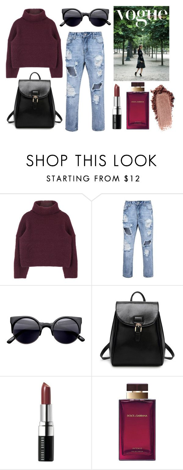 """""""Boyfriend Jeans"""" by mirandarenwick ❤ liked on Polyvore featuring Bobbi Brown Cosmetics and Dolce&Gabbana"""