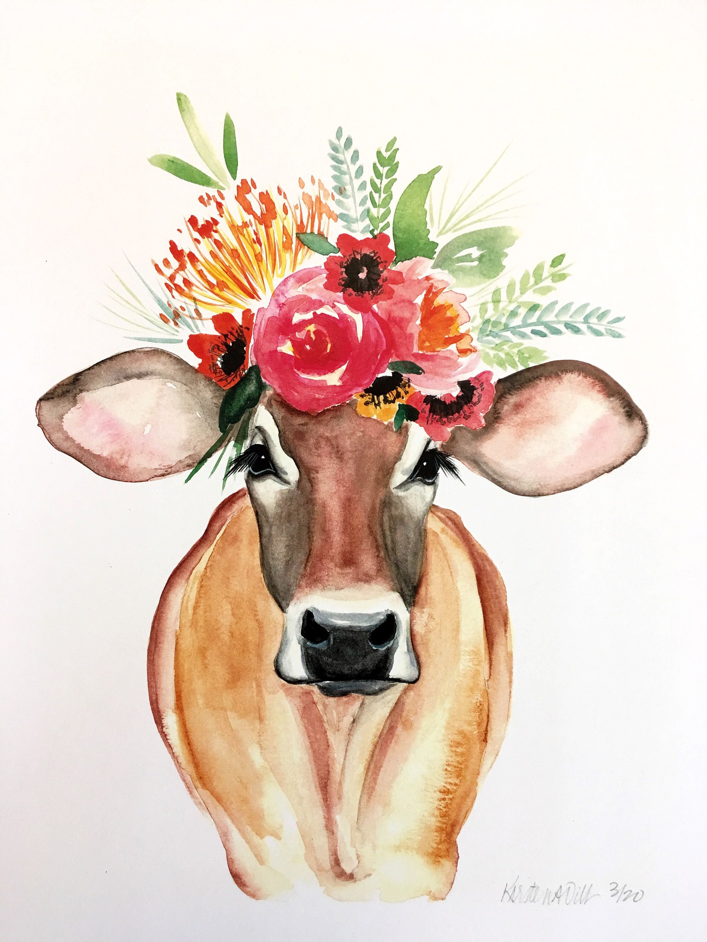 Carmen Cow art, cow painting  Kirsten Dill Sonoran Watercolors www.etsy.com/listing/562989129/limited-edition-carmen-the-cow-print