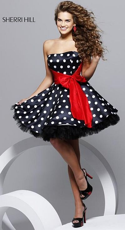 Sherri Hill Black and White Polka Dot Short Party Dress 2227 at ...