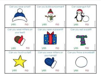 Winter Yes/No Questions | Preschool Questions | Yes or no questions ...