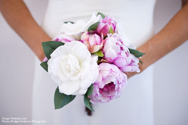 Peony Bouquet.  Simply beautiful silk peonies and roses.  Perfect DIY Bouquet for the budget bride!