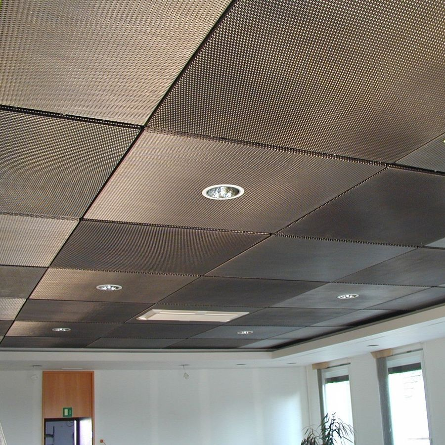 Metal suspended ceiling terials pinterest metal mesh balance studios conference room drop ceiling tiles painted with metallic aluminum paint paint tiles covered with a thin metal mesh dailygadgetfo Image collections