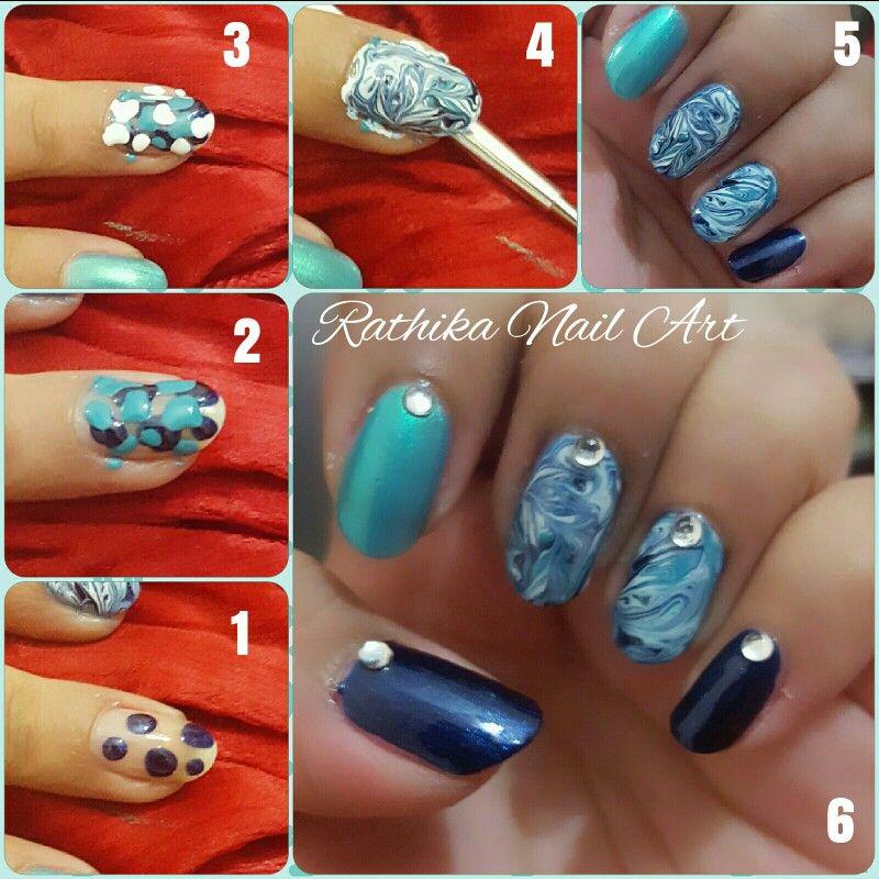 No-water water marble nail art... | Rathika Nail Art | Pinterest ...