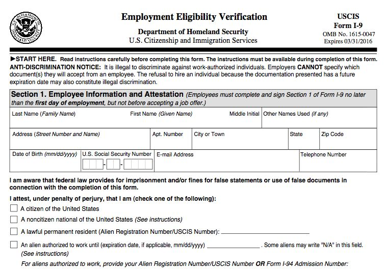 New Employment Eligibility Verification Form I-9