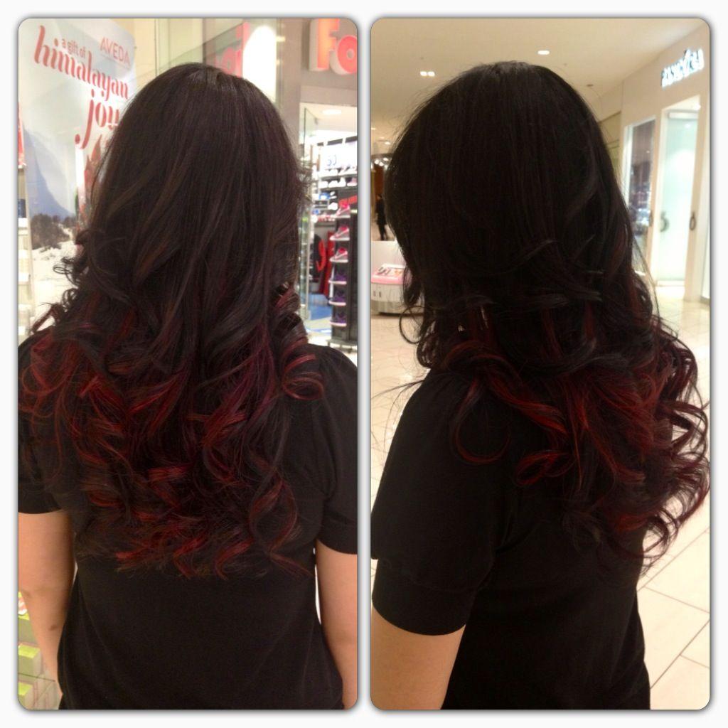 Dark Brown With Cherry Red Tips Red Hair Tips Black Red Hair Black Hair Dye