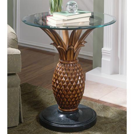 Heritage Glass Top Pineapple Side Table U4411 Lamps Plus Glass Top Side Table Side Table Pedestal Side Table