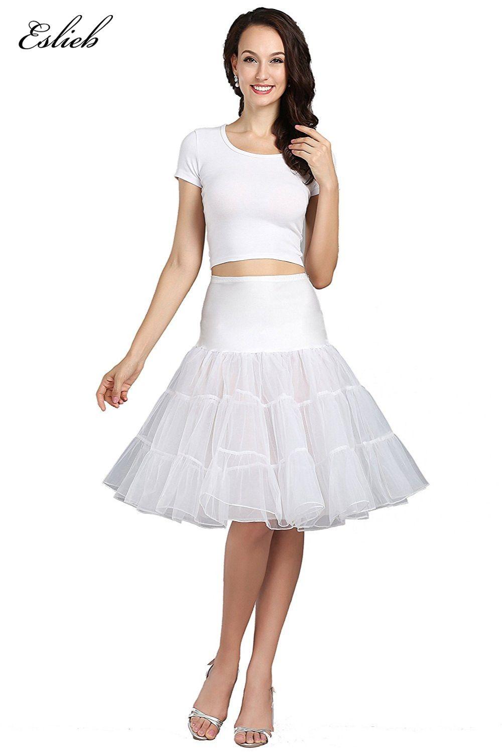 Eslieb Free Short Organza Petticoat Crinoline Vintage Wedding Bridal For Dresses Underskirt Rockabilly Tutu: Vintage Wedding Dresses Short Tutu At Websimilar.org
