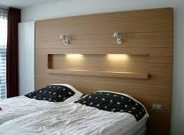 Hoge achterwand bed met uitsparing en verlichting (Indeo) | Project ...
