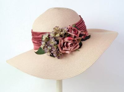 Victorian Trading company, heirloom roses straw widebrims, multiple colors.  $60.