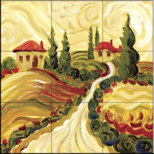 Tuscan Villas II - Tile Mural | Tile murals, Decorative tile ...