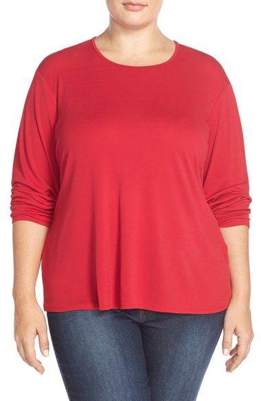 Eileen Fisher Scoop Neck Silk Jersey Tee (Plus Size)