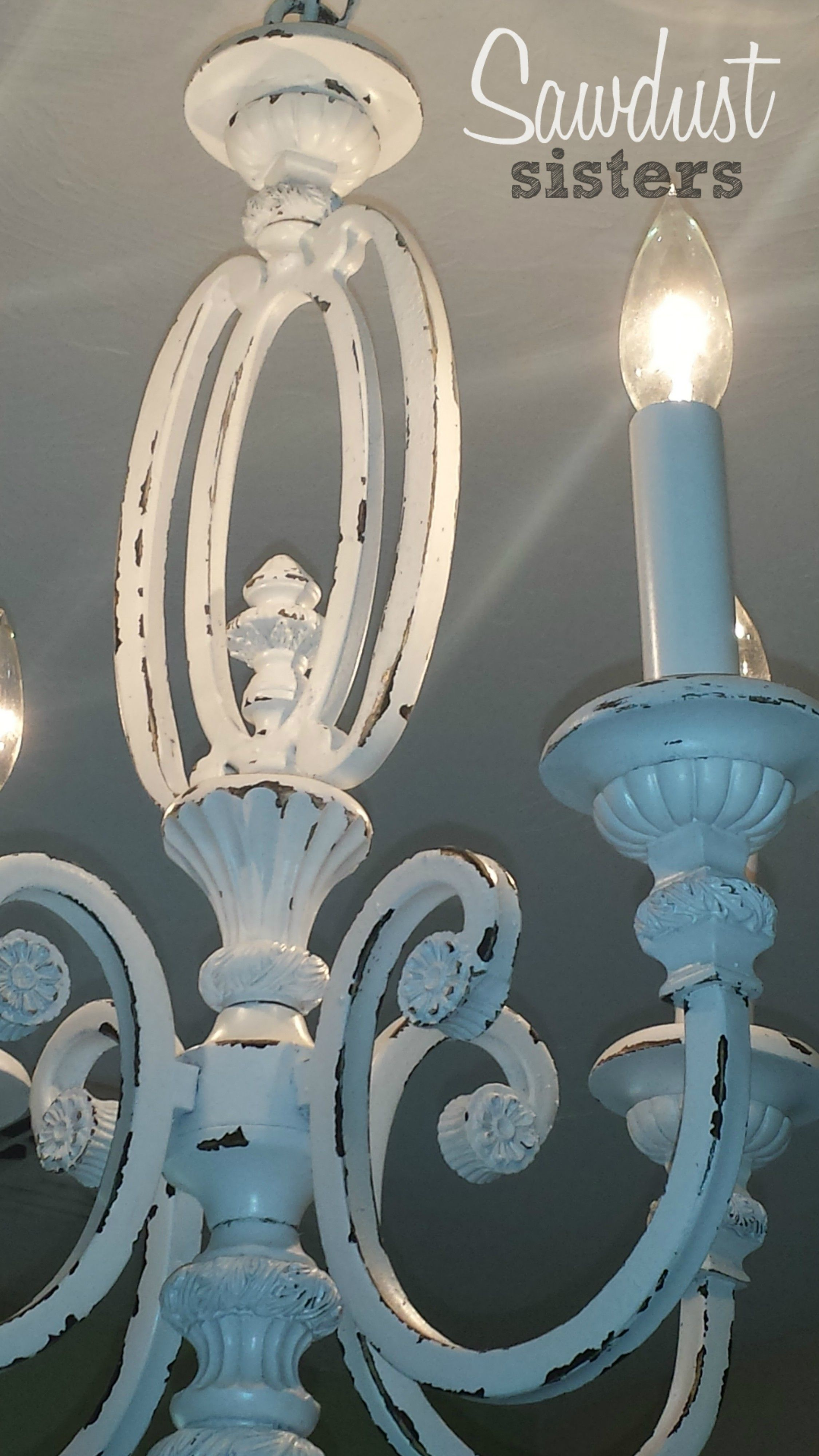 Thrift store chandelier makeover como pintar y pintar diy chandelier makeover sawdustsisters aloadofball Choice Image